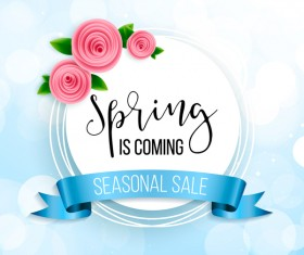 Blue spring background with round sale label vector