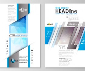 Blue style modern cover template magazine with flyer vector