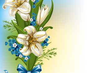 Blue with white flower and bows vector