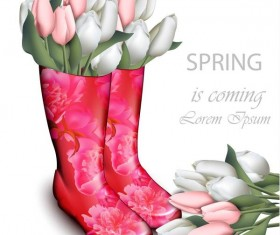 Boots with flower spring background vector 01