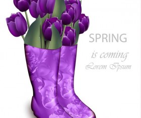 Boots with flower spring background vector 02