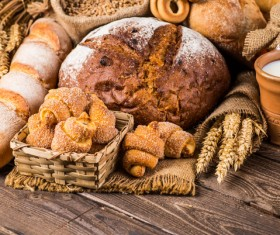 Bread wheat and milk on the desktop Stock Photo 03