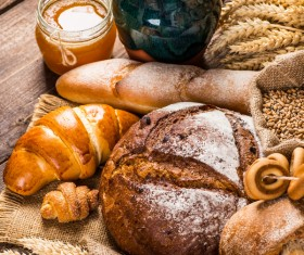 Bread wheat and milk on the desktop Stock Photo 04