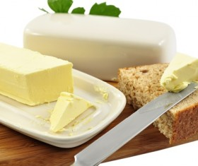 Bread with butter and cheese Stock Photo
