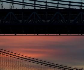 Bridge steel structure at dusk Stock Photo
