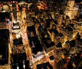 Bright modern cityscape at night from height Stock Photo
