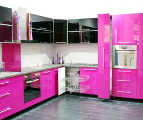 Brightly colored Open kitchen Stock Photo