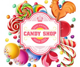Candy shop card vector material