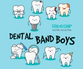 Cartoon dental band boys vector