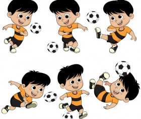 Cartoon kid with soccer vectors 01