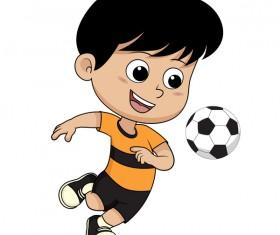 Cartoon kid with soccer vectors 02