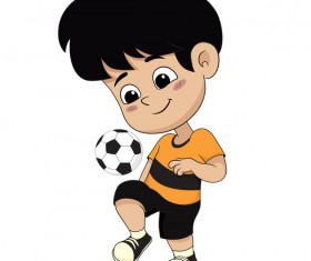 Cartoon kid with soccer vectors 03