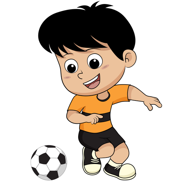 cartoon kid with soccer vectors 04 free download
