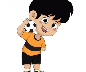Cartoon kid with soccer vectors 07