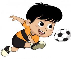 Cartoon kid with soccer vectors 08