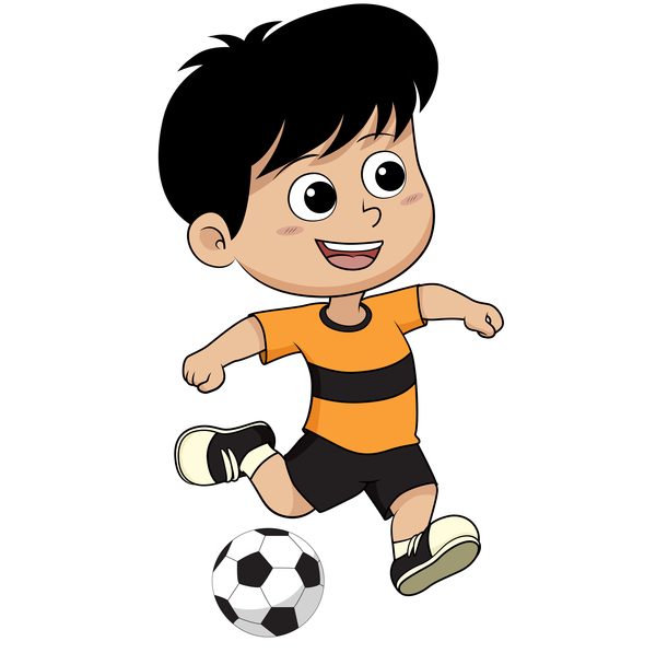 cartoon kid with soccer vectors 10 free download