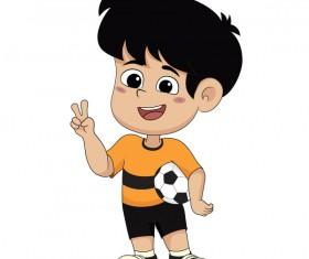 Cartoon kid with soccer vectors 11