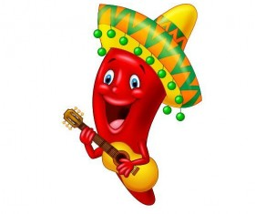 Cartoon pepper with guitar vector