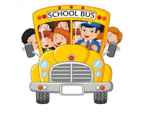 Cartoon school bus and students vector