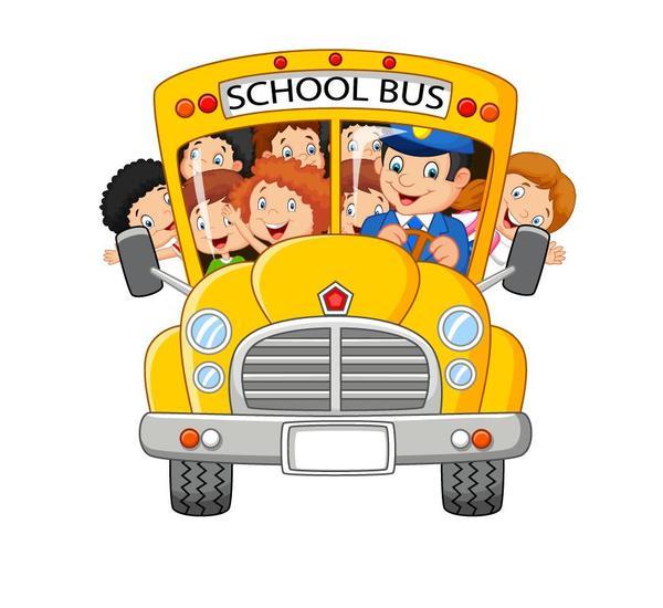 Cartoon school bus and students vector