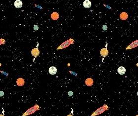 Cartoon space seamless pattern vectors 01