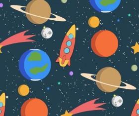 Cartoon space seamless pattern vectors 02