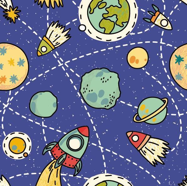 Cartoon space seamless pattern vectors 04