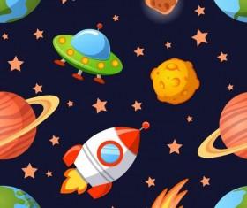 Cartoon space seamless pattern vectors 05