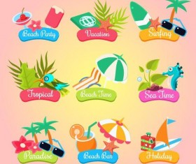 Cartoon summer travel labels vector