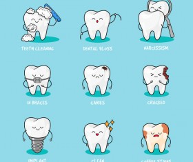 Cartoon teeth set vector