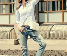 Casual style dressed girl Stock Photo