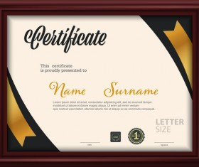 Certificate template with frame vectors 03