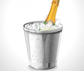 Champagne and ice cubes vector material 01