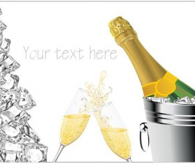 Champagne and ice cubes vector material 03