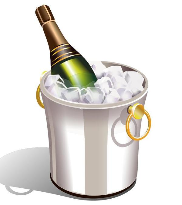 Champagne and ice cubes vector material 04