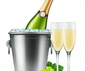 Champagne and ice cubes vector material 05