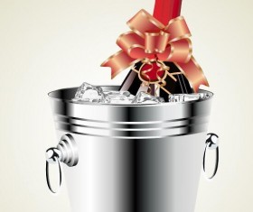 Champagne with ribbon and ice cubes vector