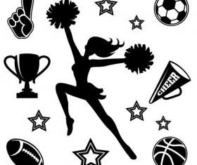 Cheerleader girl with sports competition elements vector