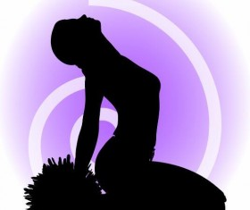 Cheerleader silhouette girl vector 01