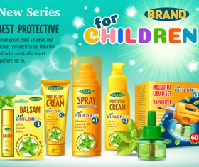 Children brand cosmetic poster AD template vector