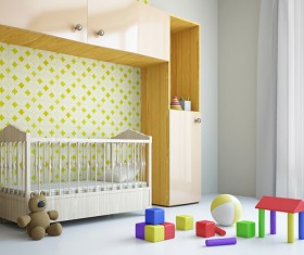 Childrens room closet and cribs Stock Photo
