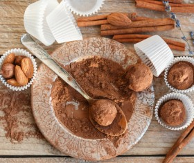 Chocolate truffle and cinnamon Stock Photo