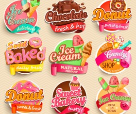 Chocolate with ice cream labels vector