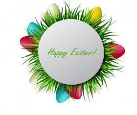 Circles easter card with easter egg vector 01