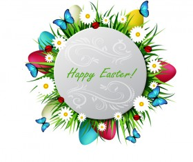 Circles easter card with easter egg vector 03