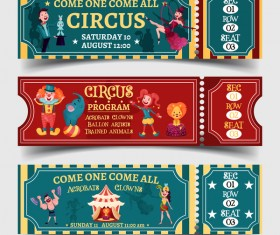 Circus tickets template vectors design 02