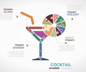 Cocktail infographic vector template