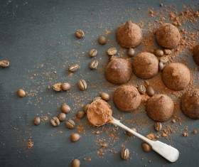 Coffee beans and Chocolate truffle Stock Photo