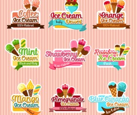 Coffee with ice cream labels vector