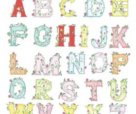 Colored alphabet with flower vector